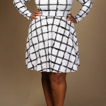 Checkered print long sleeve skater dress