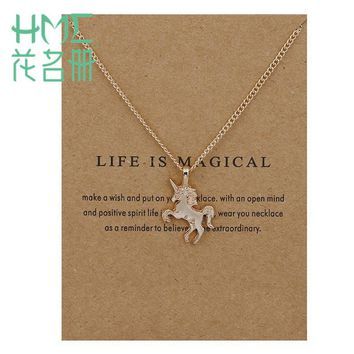 Lovely Style Unicorn Horses Zine Alloy Clavicle Chain Pendant Necklace 1pcs/bag Gold Silver For Women Pendant Accesories