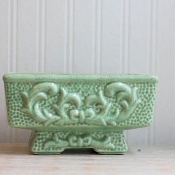 Seafoam Green Art Nouveau Vintage Planter - Ornate Decor