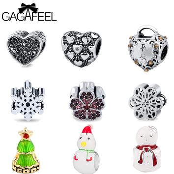 GAGAFEEL Christmas Gift Beads Fit Pandora Original Bracelet Chain Charms Diy Heart Snowman Men Women Jewelry Lovely Best Wish