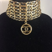 Leather And Gold Choker W Chanel Charm (Handmade)