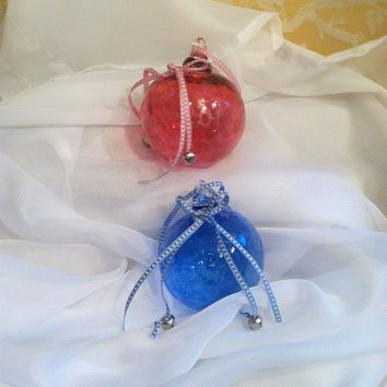 Personalized Baby Gift - Monogrammed Christmas Ornament, Hand Blown Glass  Ball