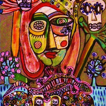 Frida Surreal Village Nightmare  by SandraSilberzweigArt on Etsy