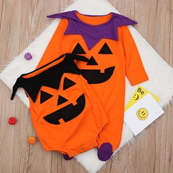 Halloween Baby Cotton Romper Newborn Baby Girl Boys Long Sleeve Romper Fall Pumpkin Bodysuit 2018 New Halloween Costume Outfits
