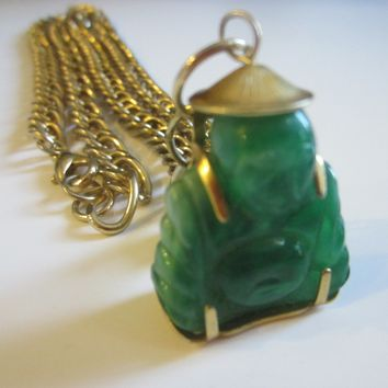 Green Buddha Golden Pendant Added Link Chain