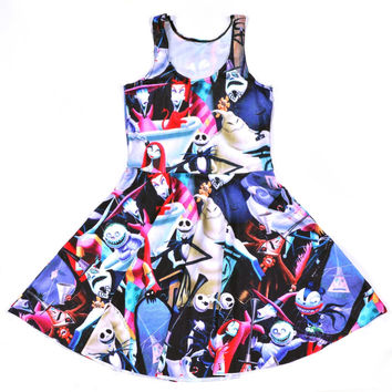 S To 4XL Vestido Hot Nightmare Before Christmas Summer Pleated Dress Harajuku Skull Sward Printed Skater Dresses 5 Patterns