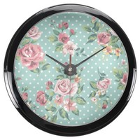 Vintage shabby chic floral teal white pink polka