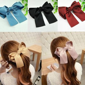 Towallmark 1PC Beautiful Elegant Lady Multi Color Satin Ribbon Bow Hair Clips Barrette Ponytail Holder For Girls (Khaki)