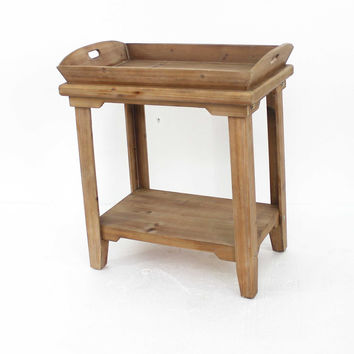 Rustic Wooden Table with Serving Tray Top