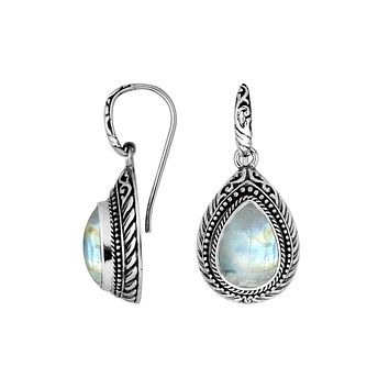 AE-8028-RM Sterling Silver Earring With Rainbow Moonstone