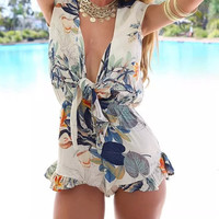 White Floral Print Bow-Tie Front Sleeveless Ruffled Romper