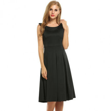 Women Round Collar Sleeveless Solid Fit And Flare Party Pleated Midi Dress