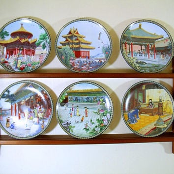 China's Imperial Palace; The Forbidden City Collector Plates with Display Shelf Bradford Exchange Plates Complete Set of Chinese Series of 6