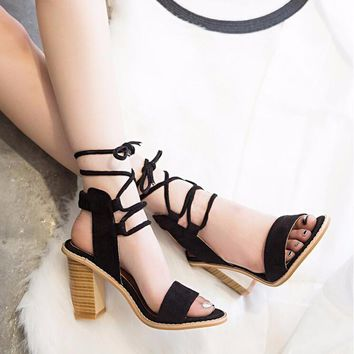 Sexy Women Pumps Open Toe Lace up Heels Sandals
