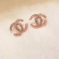 Shiny double c Stud Earrings  [14]