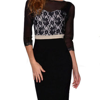 Black Crochet Lace Long Sleeve Midi Dress with Mesh Accent