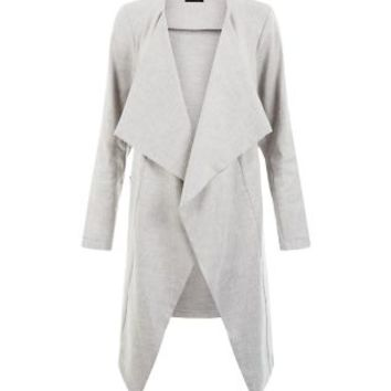 Grey Linen Waterfall Duster Coat