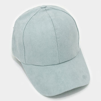 Light Green Faux Suede Baseball Cap With Velcro Closure, One Size Fits All, Unisex Gift Idea