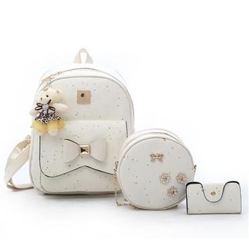 School Backpack trendy 3Pcs Set Sequins Women Pu Leather Backpack Cute Bow Flower School Bags For Teenage Girls Round Shoulder Bag Women Backpack Purse AT_54_4