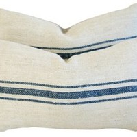 French   Textile Lumbar Pillows, Pair