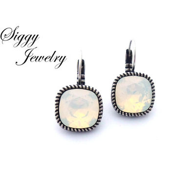 White Opal Swarovski Crystal Earrings, 12mm Cushion Cut, Bezel Drop Lever-Back Setting, Pick From over 30 Swarovski Colors, FREE SHIPPING