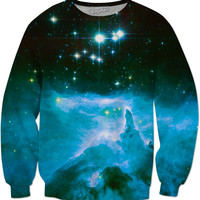 Blue Emission Nebula | Universe Galaxy Nebula Star Clothes | Rave & Festival Shirt