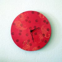 Red Valentine Clock, Home Decor, Eco Friendly Decor, Home and Living, Decor and Housewares, Record Clock, Unique Gift