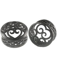 1 1/8 Inches Gauges (30mm) - Black Alloy Double Flared Flare Ear Large Gauge Plugs Flesh Tunnels Earlets AFXS - Ear stretched Stretching Expanders Stretchers - Pierced Body Piercing Jewelry BKT-018 - Sold as a Pair