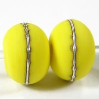 Opaque Bright Acid Yellow Handmade Lampwork Glass Beads 416 Shiny (Choices of Etched, .999 Fine Silver, Shapes, Sizes, Large Hole Beads Extra)