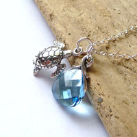 Sea Turtle Ocean Charm Necklace, Aquamarine Blue Swarovski Briolette Crystal & Sterling Silver Sea Turle Charm Pendant
