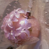 Handmade Shabby Chic Christmas Ornament Ball pink pearl lavender pearls ribbon glass glitter