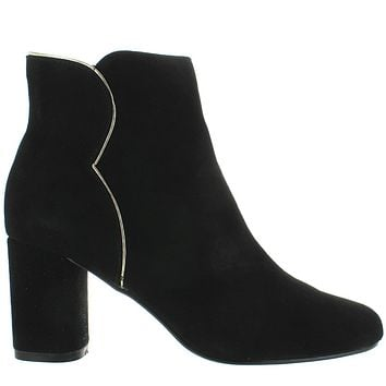 Chelsea Crew Black Label Tatiana - Black Kid Suede Metallic Pipe Edge Bootie