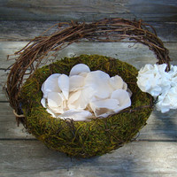 Moss Flower Girl Basket - Rustic Wedding - Fairy Wedding - Woodland Wedding - Woodsy flower girl - Country Wedding - Outdoor Wedding Basket