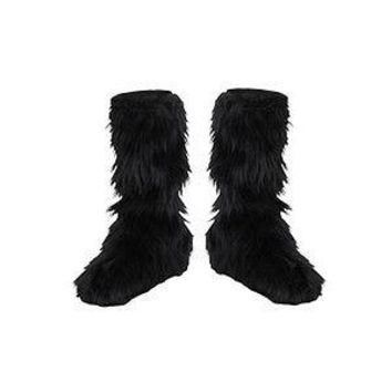 Furry Black Boot Covers for Children - Costume Accessory