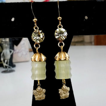 RePurposed Lemon Yellow Rhinestone Gold Tone Dangle Earrings Satin Beads Jonquil RS Upcycled Recycled OOAK