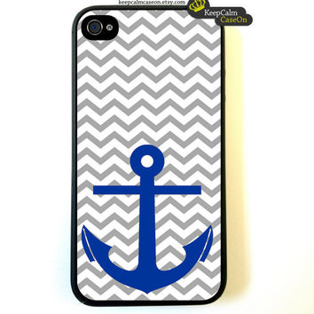 Iphone 4 Case Anchor On Nautical Chevron Pattern by KeepCalmCaseOn