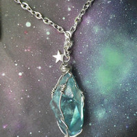 Large Aqua Aura crystal quartz wire wrapped necklace