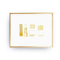 Makeup Accessories Set, Fashion Poster, Bathroom Wall Decor, Real Gold Foil Print, Makeup Accessories, Home Decor, Beauty Print, Makeup Art