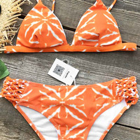 Cupshe Orange Boom Tie-dyed Bikini Set