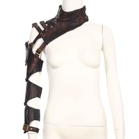 Brown PU Leather Armor Design Belt Buckled Long Vintage Steampunk Arm Warmer Rock Gothic Clothing Women Sexy Corset Accessories