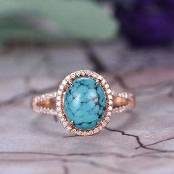 8x10mm Oval Cut Turquoise Engagement Ring,14k Rose Gold band,Anniversary ring,Split Shank,Half Eternity,Claw Prongs,Pave Set,Gift for her