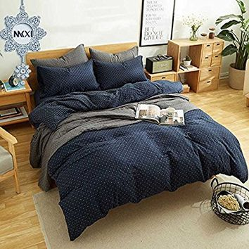 "MKXI Reversible Duvet Cover Set 2 Piece Twin Size Bedding Set Navy Includes Duvet Cover 68""x86"" and 2 Pillow Shams(Give an alternative pillowcase as gift) 20""x26"", Comfortable, Breathable, Soft"