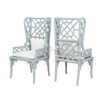 GuildMaster Bamboo Manor Slate Wing Back Chairs Set Of 2 6915510P | Bellacor