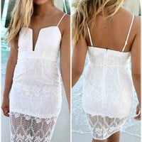 On The Rocks Plunging Neckline Fitted White Lace Cocktail Dress