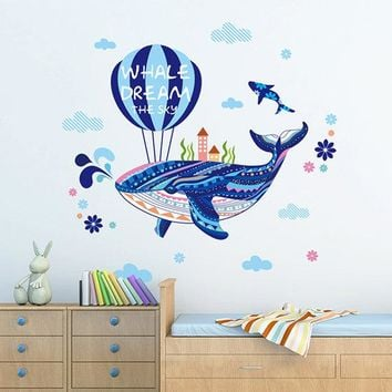 Kids Cartoon Ocean Sea Wall Sticker Children Hot Air Balloon Blue Whale Room Decor