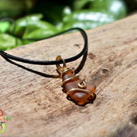 Sea Glass Jewelry from Hawaii, men's necklace, Hawaiian seaglass pendant on leather
