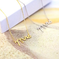 Mrs necklace in gold or silver, mrs jewelry, wedding gifts, bridal shower gifts, simple, everyday necklace