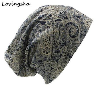 VONG2W LOVINGSHA Autumn Winter Dual-use Vintage Cashew Design Hat For Ladies thin Skullies And Beanies Women Scarf Face Mask HT016
