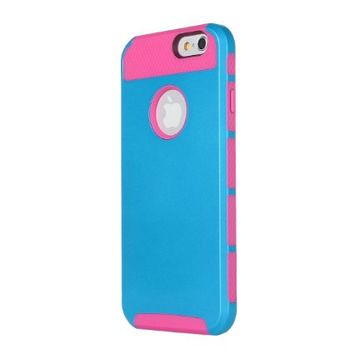 iPhone 6 Case, SmartBB(TM) [Non-Slip] [Perfect-Fit] iPhone 6 (4.7) Case [Hard Plastic] [Silicone] Protective Case Rubber Bumper Slim [Heavy Duty] [Dual-Layer] Cover for iPhone 6 (4.7) (2014)(blue+pink)