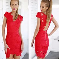 Jagged Red Lace Dress
